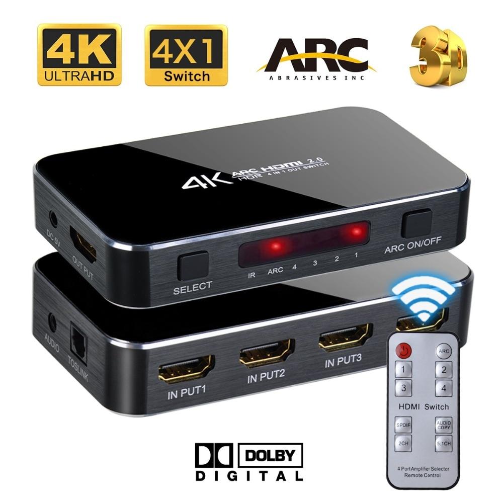 Iseebiz HDMI 2,0 4X1 interruptor 4 K HDR de Audio óptico TOSLINK conmutador HDMI ARC divisor con Control remoto para PS4 HDTV Xbox 360