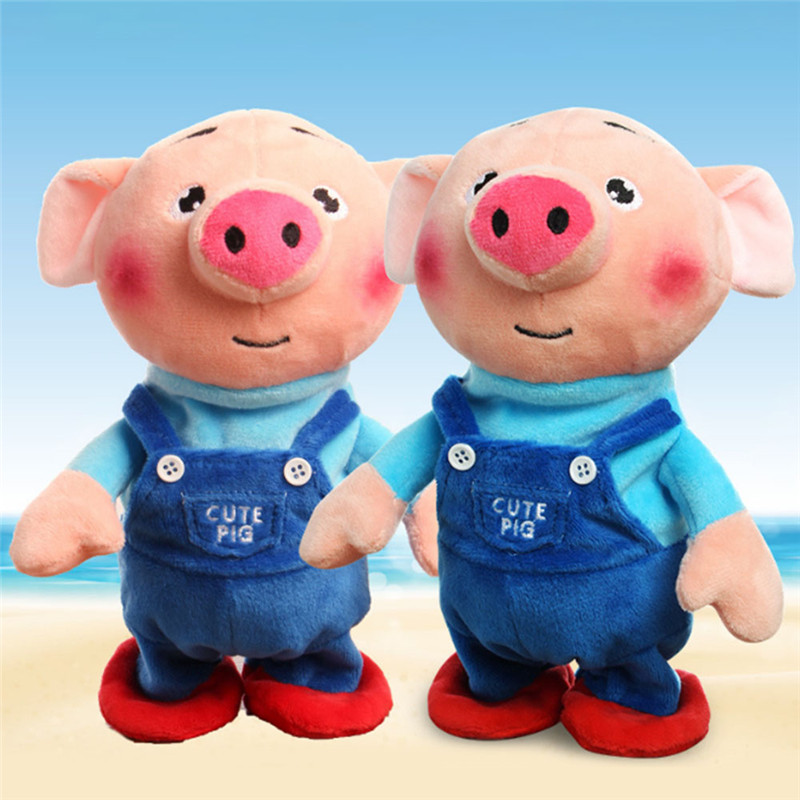 Electric Plush Toy Stuffed Singing Pig Animal Toy Music Toy For Children Gifts Toys(Bring Your Own 3 AAA Batteries)
