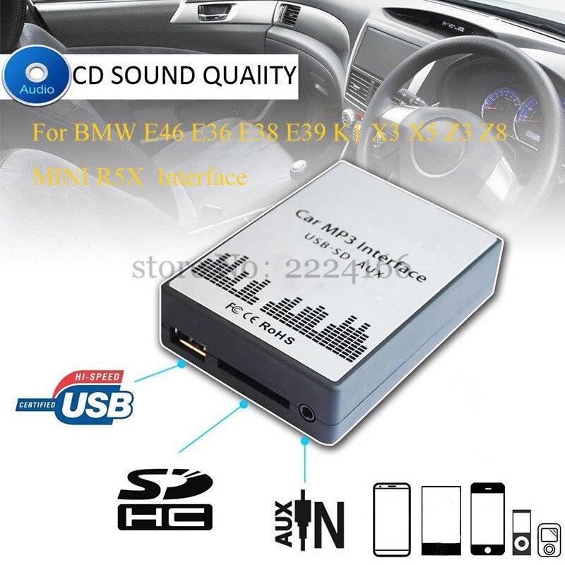 USB SD AUX MP3 De Voiture Musique Interface Lecteur CD Changeur Adaptateur Chargeur pour BMW E39 X3 X5 Z4 Z8 MINI R5x 10PIN 12PIN Voiture pièces
