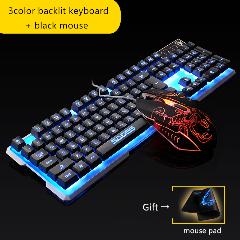 f284825d92a Original SADES Keyboard Mouse Combos Light Language Gaming Keyboard S1 2400  DPI Game Mouse For LOL Dota-in Keyboard Mouse Combos from Computer & Office  on ...
