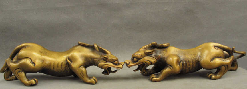 "SCY JP S0606 10 ""Folk Cinese Bronzo Animali Guardiano Unicorno Leone Drago Bestia Statua Pair Sconto 35%"
