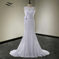 Solovedress Elegant Scoop Neck Lace Bride Dress Mermaid Wedding Dress Zipper With Sash 2017 Bridal Gown vestido De noiva SLD W89