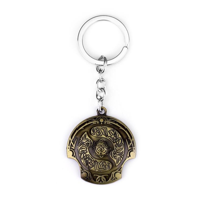 New Online Game Dota 2 Immortal Champion Shield Key Chain Dota2 Keychain Car Keyring TI4 champion Aegis Of Champions Keychain