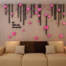 Nova 3D Amor Do Coração de Acrílico Cristal Adesivos de parede de Acrílico Adesivos para entrada da sala de estar sofá TV pano de fundo Pintura de Parede
