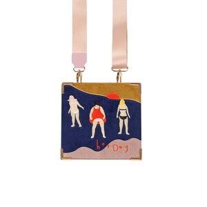 Image 2 - YIZISTORE Bolsos de mensajero retro con bordado de fieltro para mujer, de cuero PU vintage, para un día, Serie 2, 2018[FUN KIK]