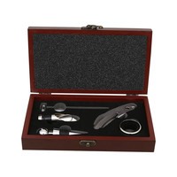 Wine and Bottle Corkscrew Opener Set with Pourer and Stopper in Deluxe Wooden Gift Box Set