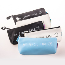 Best Deal Triangle My Pencil Case Classical Black And White Color Waterproof PU Leather Storage Cosmetic Bag Student Stationery