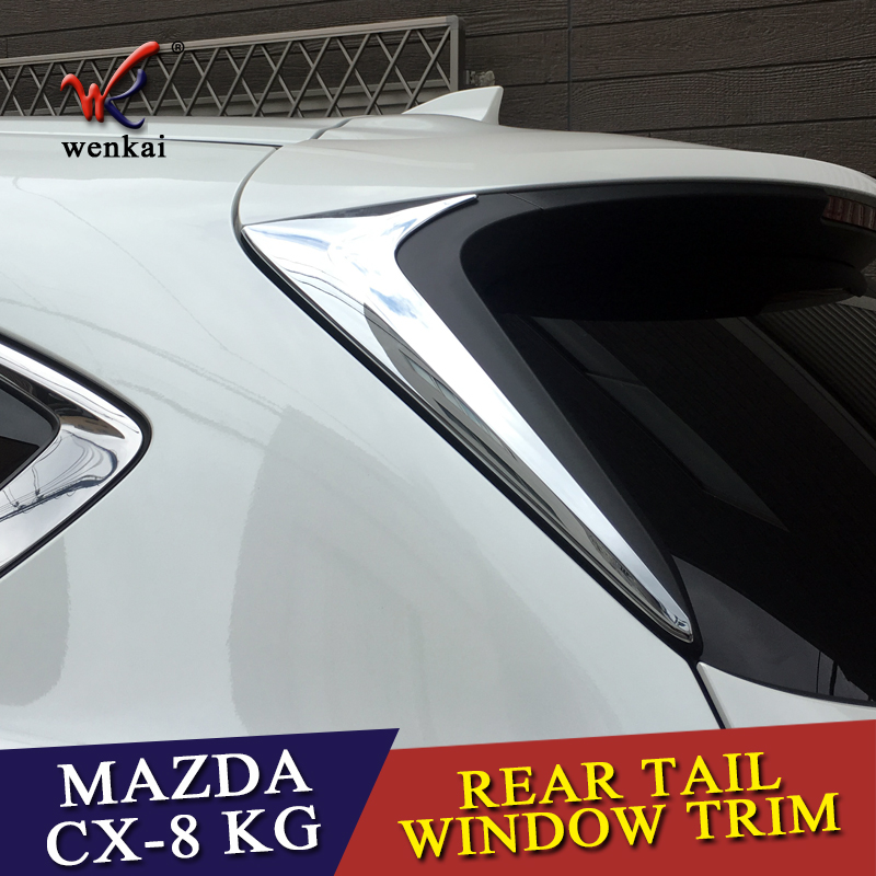 ABS <font><b>Accessories</b></font> For <font><b>Mazda</b></font> <font><b>CX</b></font>-8 CX8 KG 2017 <font><b>2018</b></font> 2019 Rear Tail Window Spoiler Triangle Molding Cover Kit Trim 2 Pcs / Set image
