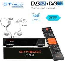 H.265 DVB-S2 DVB-T2 Satellite Receiver Terrestrial Receptor Converter Biss key tv box USB Wifi power vu HD Cccam GTMEDIA V7 PLUS