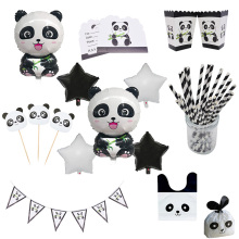 Cute Panda Foil Balloon Animal Theme Party Supplies Kids Birthday Disposable Tableware Set Banner Straws Decorations