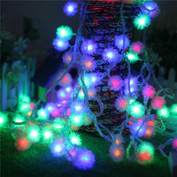LED String Lights 10M 100 LED Furry Ball Snowflake Colorful Christmas Outdoor Led String Light 220V
