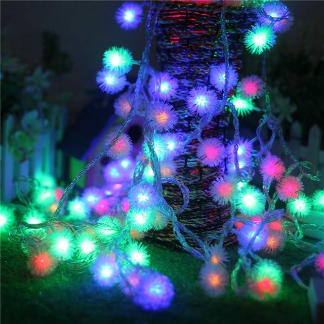 Led string lights 10m 100 led furry ball snowflake colorful led string lights 10m 100 led furry ball snowflake colorful christmas outdoor led string light 220v mozeypictures Choice Image