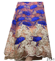 African Lace Fabric 2019 Embroidered Nigerian Laces Fabric High Quality French Tulle Lace Fabric For blue Women Dress 213