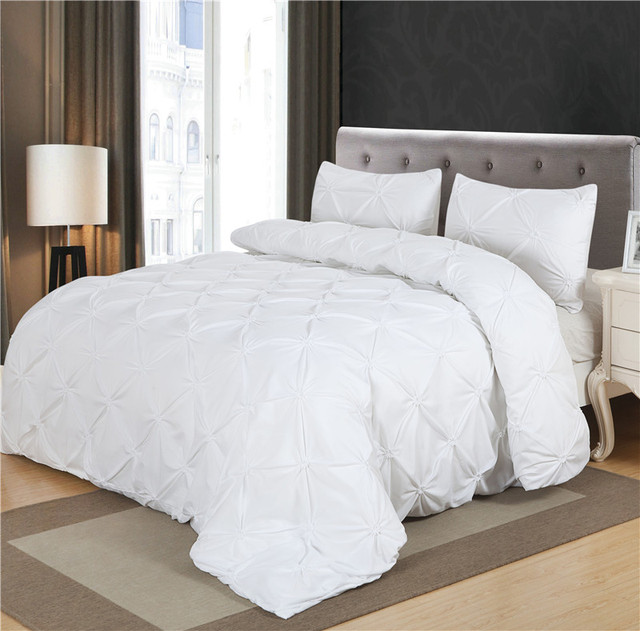 Black White Luxury Duvet Cover Set Pinch Pleat 2 3pcs Twin Queen