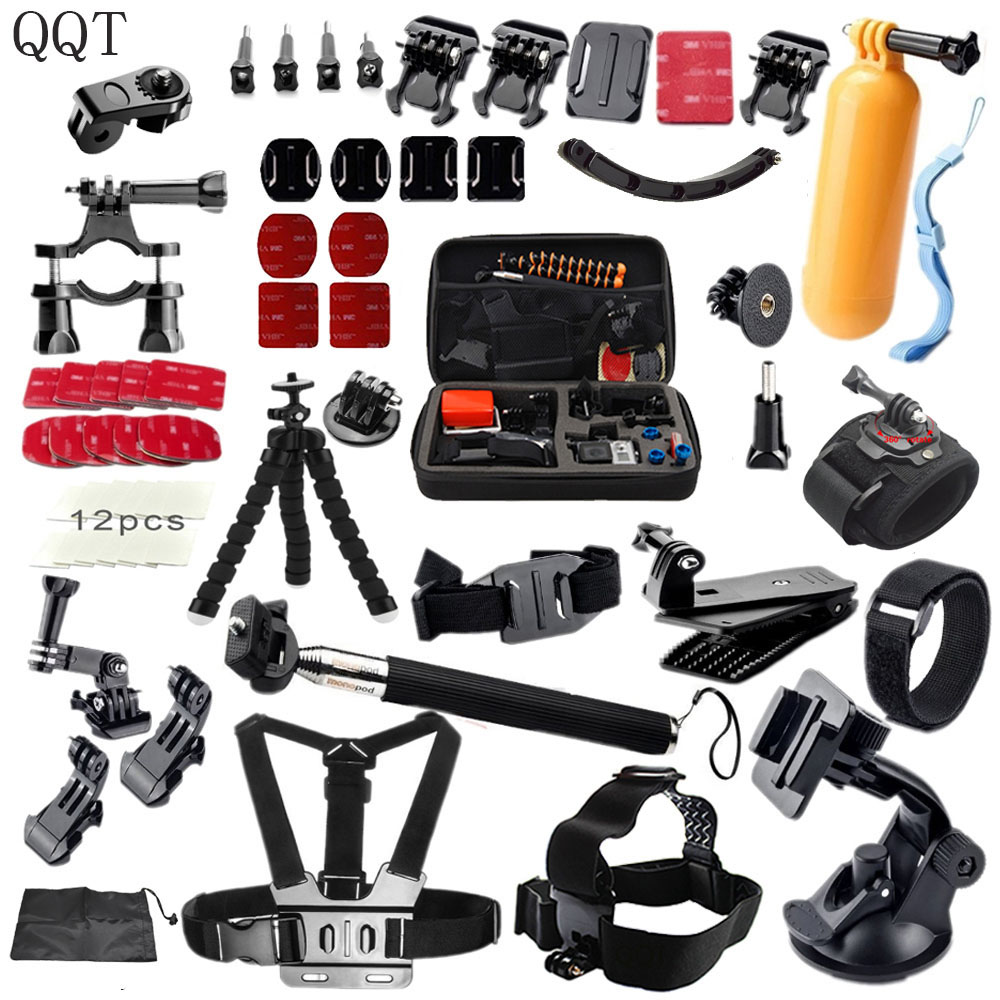 QQT for Gopro accessories Set Head support Strap Helm Harness Brustgurt mini stick Einbeinstativ Stativ Go pro Hero 6 5 4 3 2
