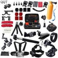 QQT for Gopro accessories Set Head support Strap Helm Harness Brustgurt mini stick Einbeinstativ Stativ Go pro Hero 7 6 5 4 3 2