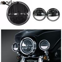 Marloo Motorcycle 7 Inch Led Headlight Driving Fog Light 4.5 4 1/2 Passing Lamp Set For Harley Davidson Touring