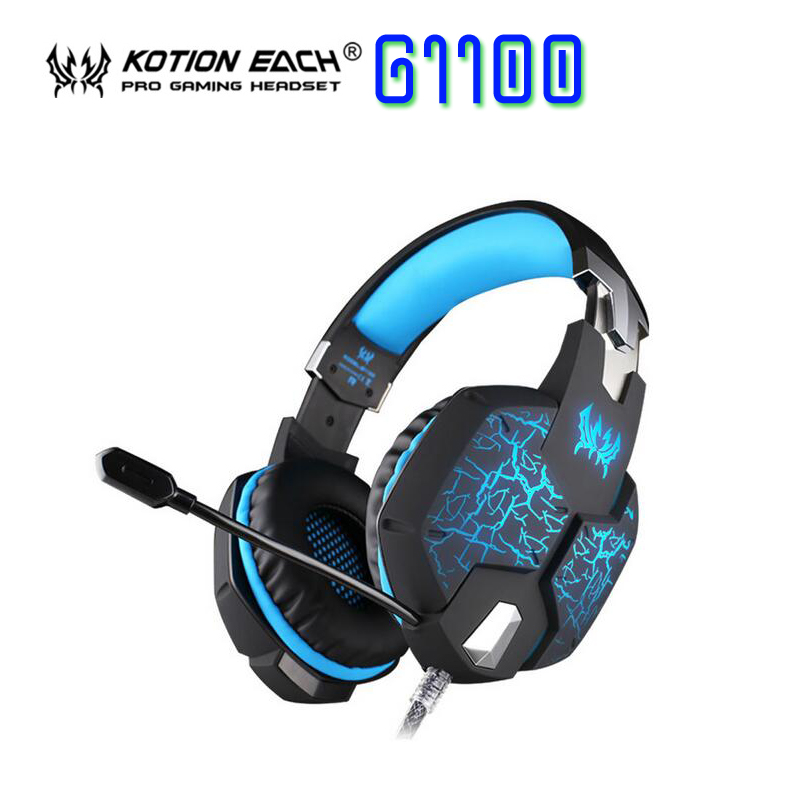 EACH G1100 Vibration Function Professional Gaming Headphone Games Headset with Mic Stereo Bass Breathing LED Light for PC Gamer kotion each g2100 vibration function professional gaming headphone games headset with mic stereo bass led light for pc gamer