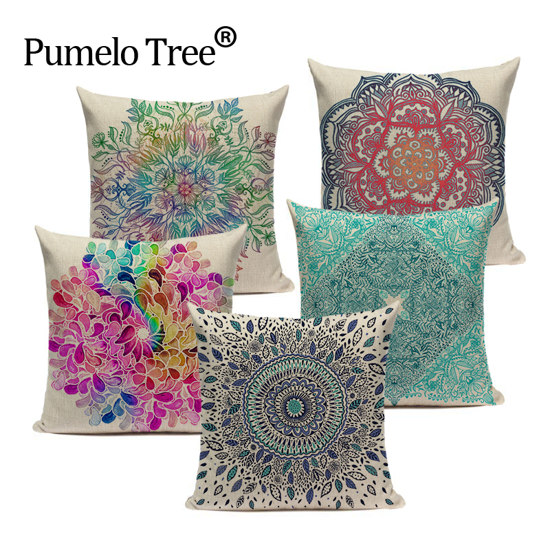 Us 3 29 34 Off Supplies Village Floral Textile Colored Flower Pattern Sofa Decorative 45cmx45cm Square Top King Size Bed Printed Pillow Case In