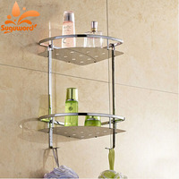 Wall Mount Double Tirs Stirage Shelf Btahroom Stainless Steel Holder