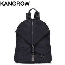 Kangrow женские Рюкзаки Мода Нейлон Женщины Черный Повседневная Daypacks Твердый мешок Школы для девочек