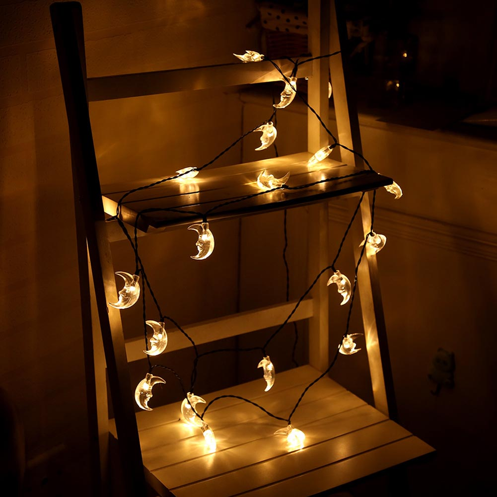 Hot Sale Waterproof 20 LED Moon Solar Fairy String Lamp Lovely Christmas Wedding Party Garden Holiday Decor Lighting Fashion