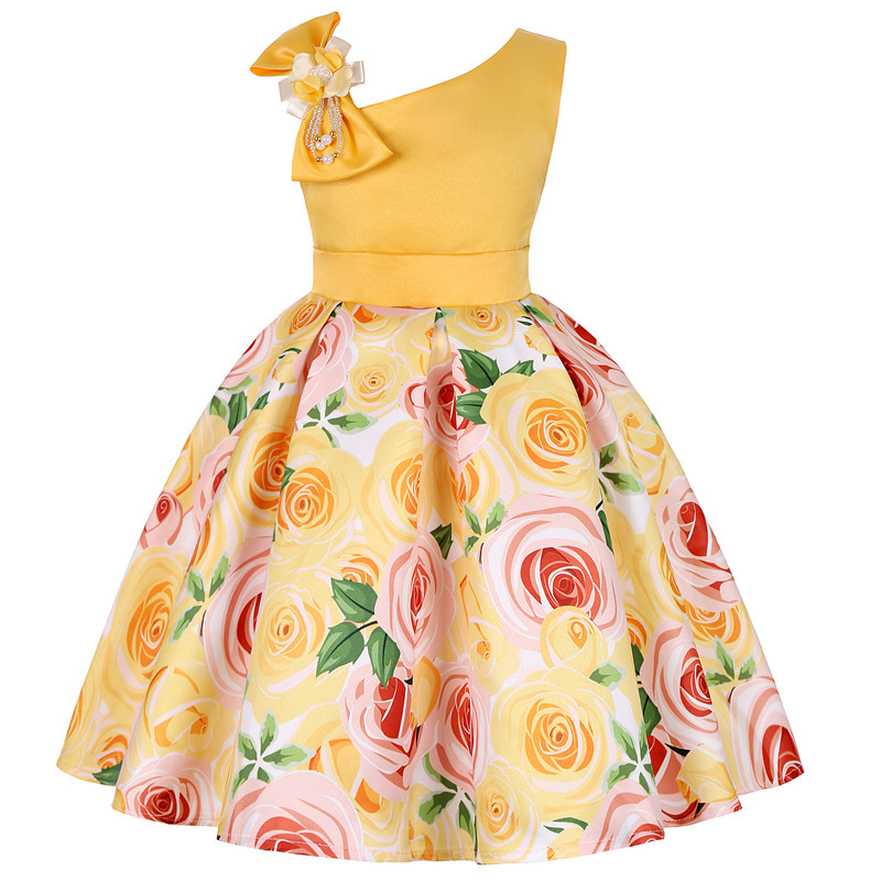 2019 new children's dress slant shoulder girl dress rose print dress dress party children's wear 6