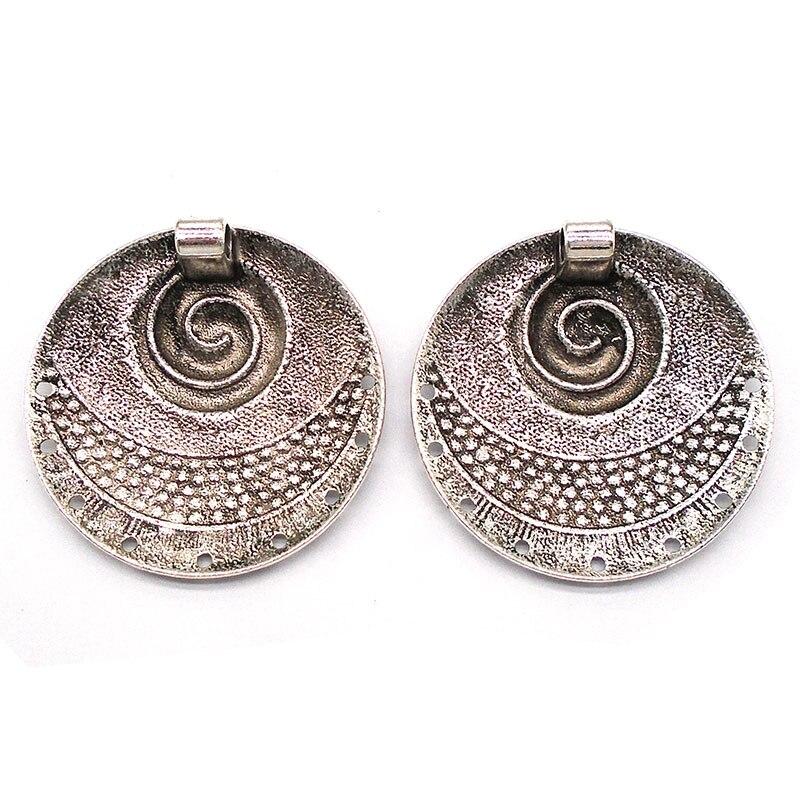 877a7a4c884c ZXZ 2 piezas de plata antigua Bohemia martillado espiral remolino vórtice  redondo encanto colgante conectores para collar joyería hacer hallazgos