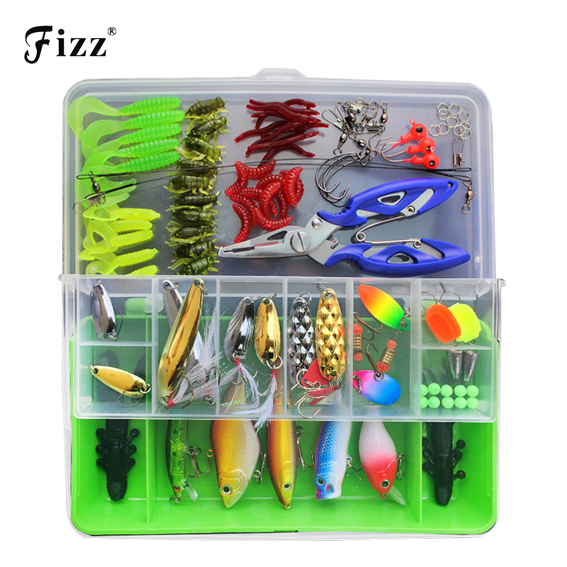 100pcs Lure Kit Set Minnow Popper Crankbait VIB Spinner Spoon Soft Worm Maggot Fishing Lure Hooks Pliers Trace Wire Connector