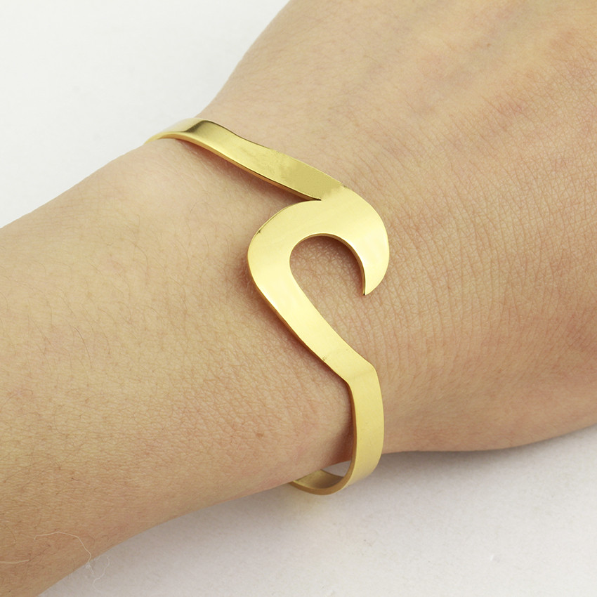 Gold Filled Wave Stackable Open Cuff Bracelets For Women Stainless Steel Bangle Aloha Jewelry Party Gifts Pulseras Mujer Bijoux