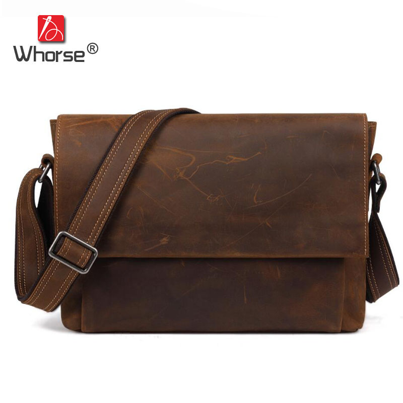 Famous Brand Vintage Casual Crazy Cowhide Leather Messenger Bag Men Satchel Crossbody Shoulder Business Briefcase Bag W0960 famous brand vintage casual crazy cowhide leather messenger bag men satchel crossbody shoulder business briefcase bag w0960
