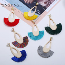 WNGMNGL 2018 New Fashion 7 Colors Wood simulated pearl Long Drop Tassel Earrings for Women Female Fringed Statement Jewelry Gift