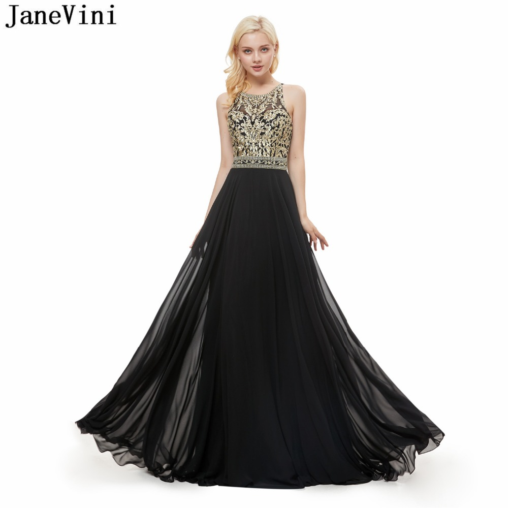JaneVini 2019 Black A Line Long   Bridesmaid     Dresses   Gold Embroidery Pattern Beaded Backless Floor Length Chiffon Prom Party Gowns