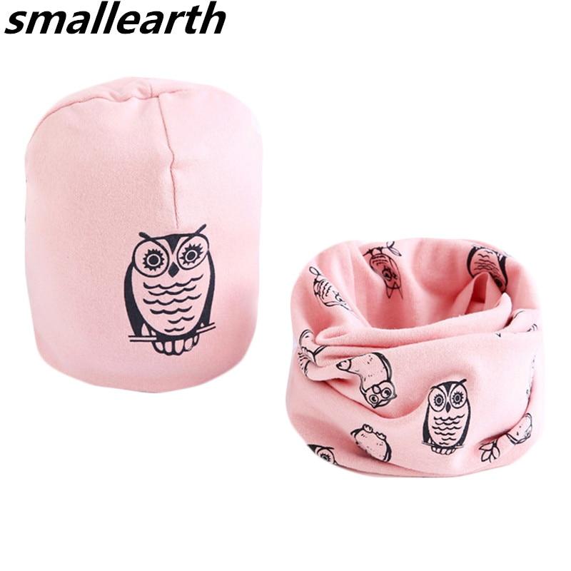 New Spring Baby Girl Hat Scarf Sets Cartoon Owl Stars Swan Children Hats Collar Set Autumn Winter Cotton Baby Boys Hat Bib 2pcs