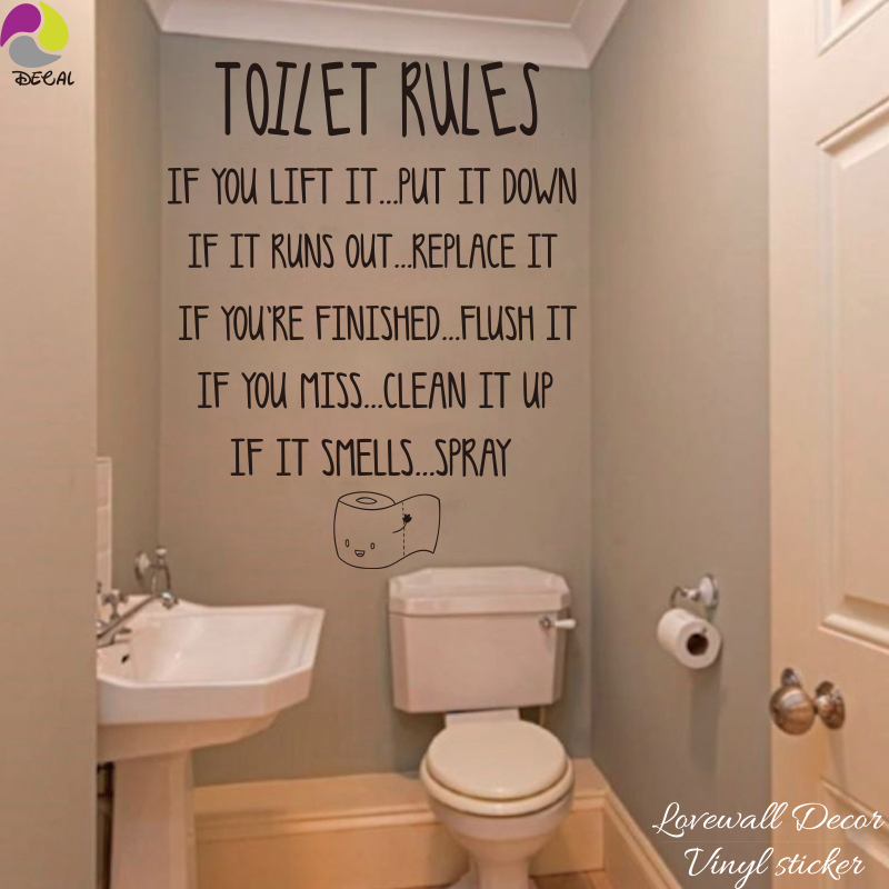 Toilet Rules Quote Wall Stickers Bathroom Removable Decals