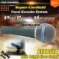 Top Quality Beta 58A Super Cardioid Vocal Wired Dynamic Microphone Beta58A 58 A Handheld Karaoke Mic Microfone Com Fio Microfono