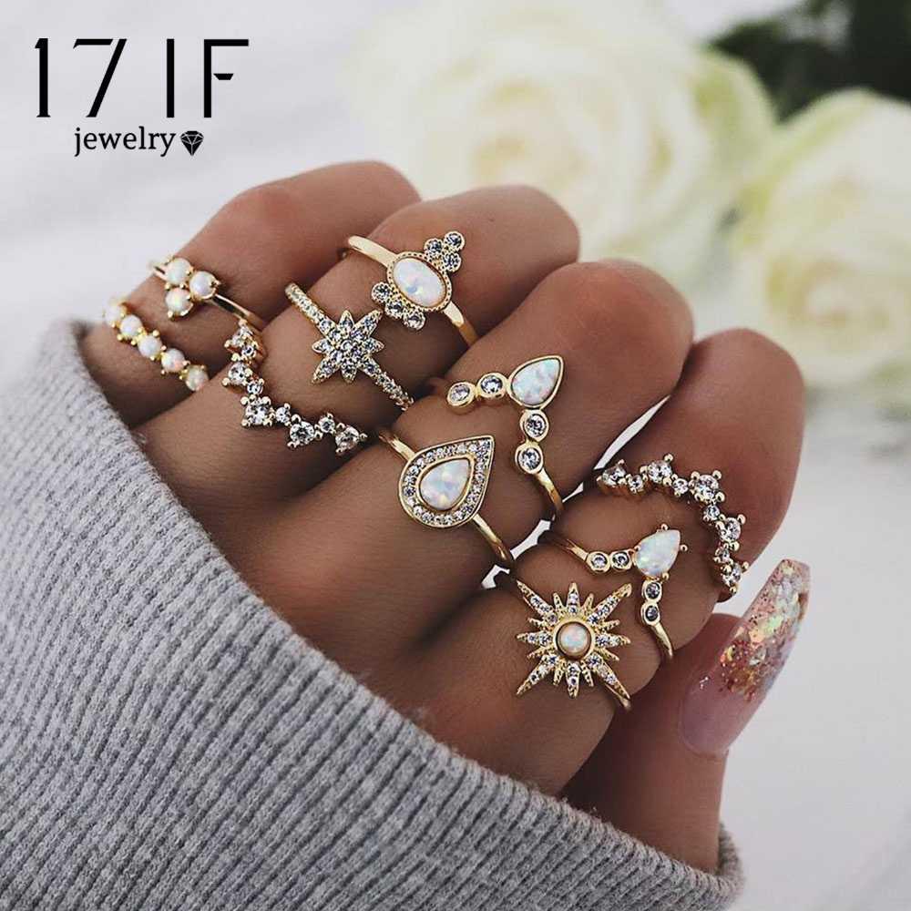 17IF 10 ชิ้น/เซ็ตผู้หญิงคริสตัลเรขาคณิตมงกุฎอัญมณีทองชุดแหวนนิ้วมือหมั้นงานแต่งงานแฟชั่นเครื่องประดับของขวัญ