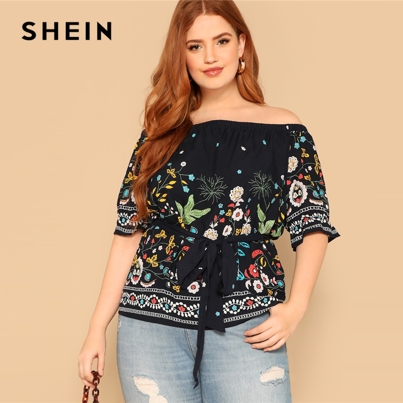 SHEIN Navy Boho Plus Size Off Shoulder Botanical Belted Floral Blouse Women 2019 Summer Casual Half Sleeve Top Blouses