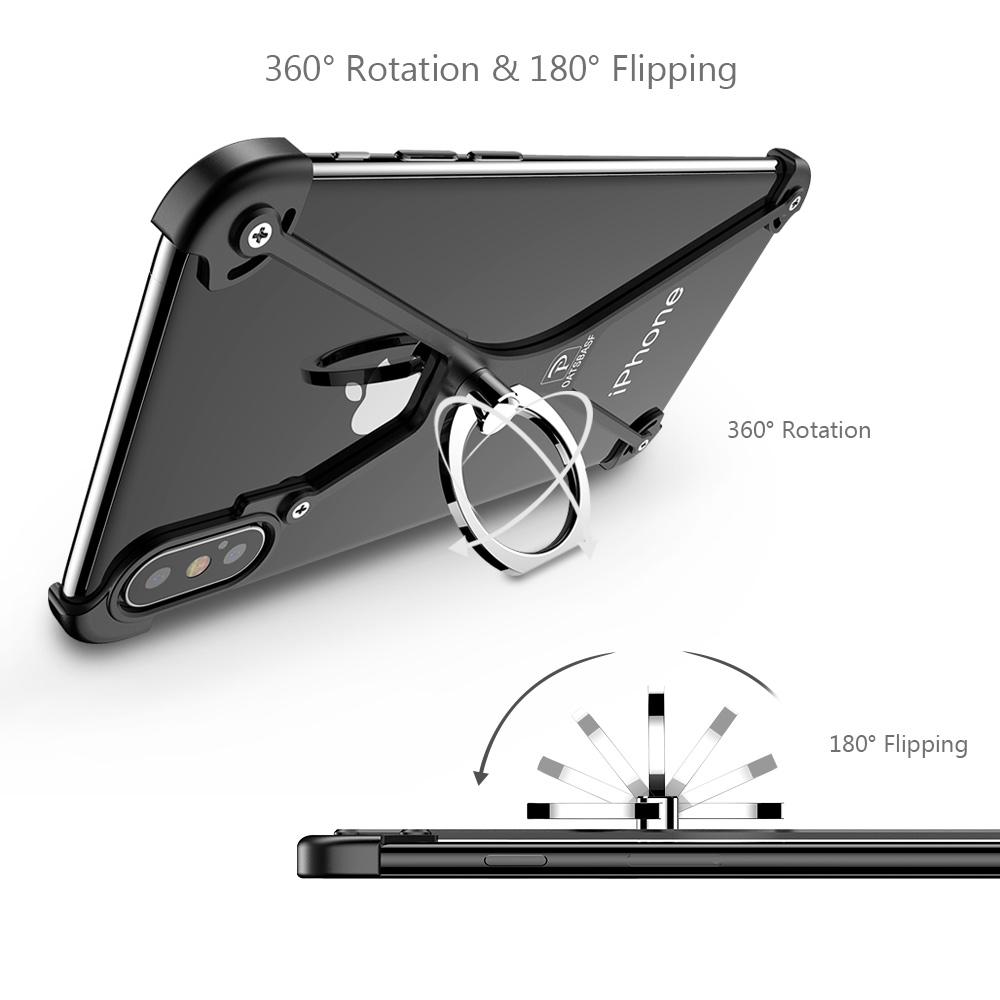 PADCOVER X Shape With Ring Holder Case For IPhone XS Max Case For IPhone XSCase Metal Bumper For IPhone X With Gift Glass Film