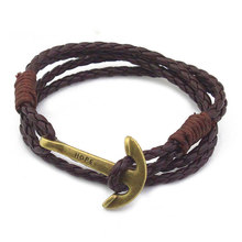 Faux Leather Cord Wristband with Anchor Cuff