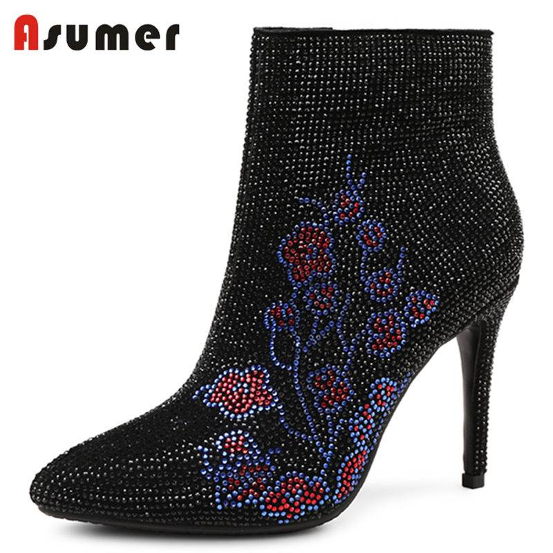 ASUMER 2018 HOT fashion zip kid suede leather boots rhinstone ankleboots for women stiletto high heels pointed toe winter bootsASUMER 2018 HOT fashion zip kid suede leather boots rhinstone ankleboots for women stiletto high heels pointed toe winter boots