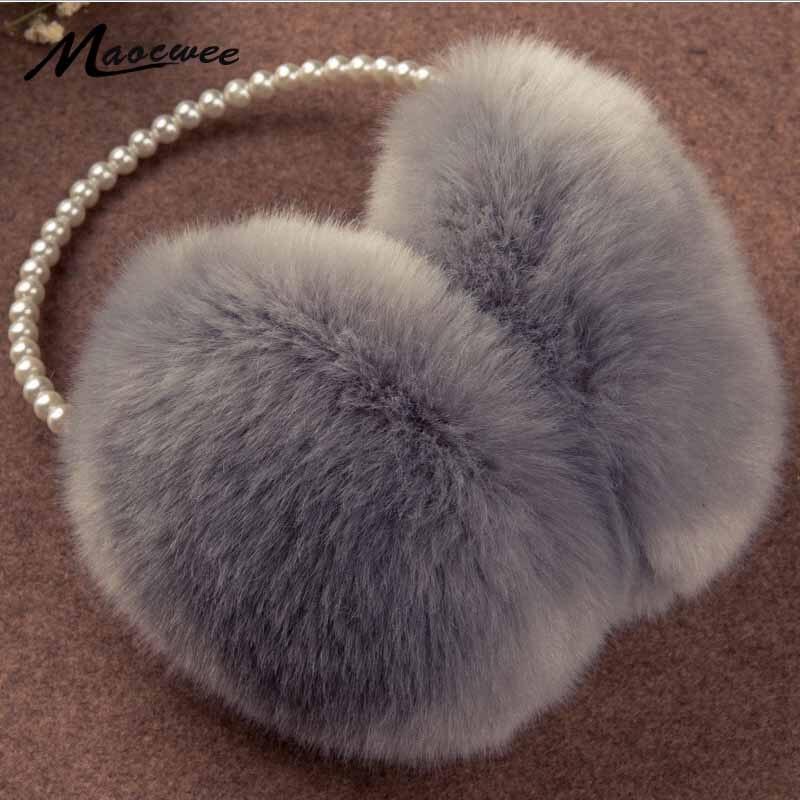 2017 Pearl Winter Earmuff Imitation Rabbit Women Fur Earmuffs Winter Ear Warmers Large Plush Warm Earmuffs Ear Package Brand