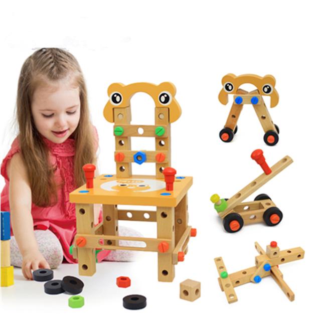 Multifuncional cadeiras de fio ferramenta de desmontagem montagem combinação porca de madeira blocos montados brinquedos educativos Miúdo