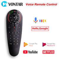 G30 télécommande vocale Air souris sans fil Mini Kyeboard avec apprentissage IR pour Android TV Box H96 MAX T9 HK1 Mini X96 MAX X2 T95
