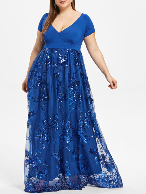 f6f07f4b94ac3 Women Plus Size Dress 5XL Floral Sparkly Maxi Prom Sequined Dress Sexy Deep  V Neck Short Sleeves Elegant Party Dress Vestidos