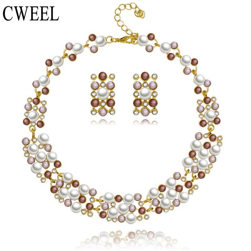Cweel mujeres dubai conjuntos de joyas de boda nupcial perla de imitación africa