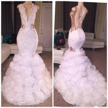 dreaming truing Glitter White Mermaid Prom Dresses 2019