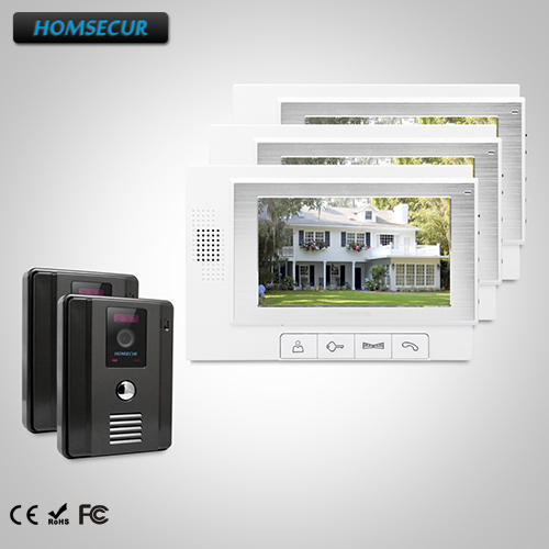 HOMSECUR 7 Video&Audio Smart Doorbell+Touch Button Monitor for Home Security 2C3M:TC011-B Camera(Black)+TM703-W Monitor(White)