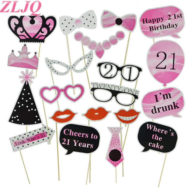 ZLJQ 20pcs DIY Happy Birthday Party Photo Booth Props Kit