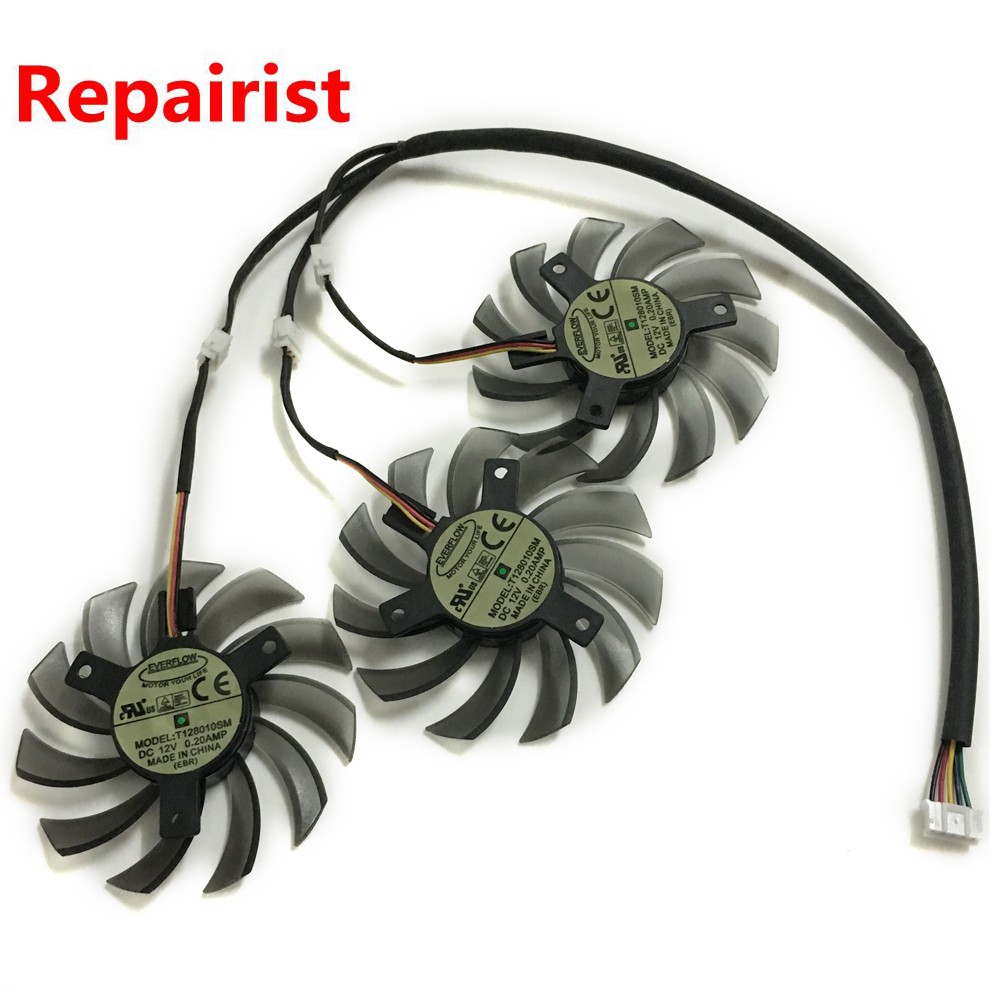 3Pcs/lot  T128010SM 75MM DC 12V 3Pin 0.20A PC Graphics Card Fan Cooler For HD6870 Gigabyte as Replacement 2pcs lot pld08010s12hh 75mm dc 12v 0 35a 4pin dual cooler fan as replacement for msi twin frozr iii graphics video card